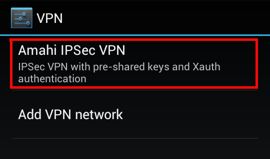 how to add vpn network in android